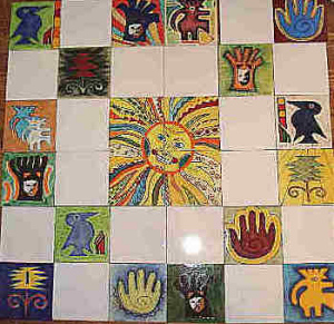 One of a kind custom ceramic tile mural projects featured for Aztec mural painting